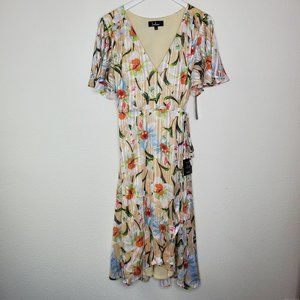 Lulu's Yellow Floral Belted Wrap Dress